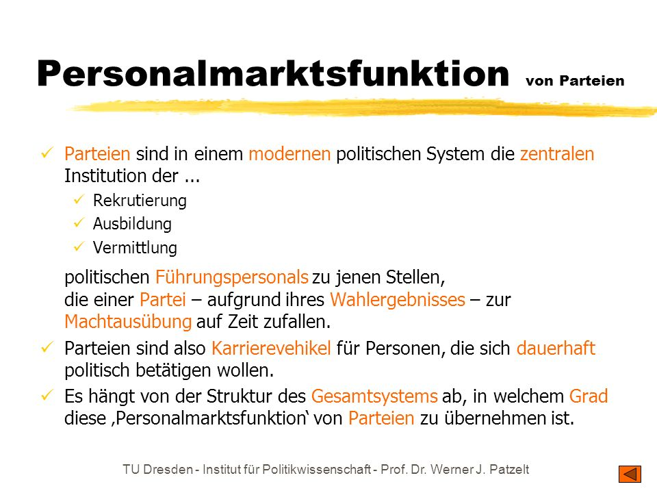 Personalmarktsfunktion von Parteien