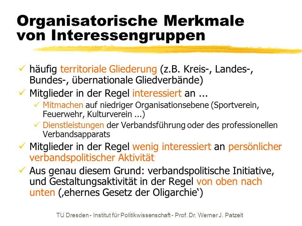 Organisatorische Merkmale von Interessengruppen