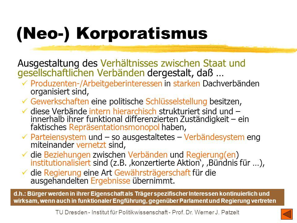 (Neo-) Korporatismus Ausgestaltung des Verhältnisses zwischen Staat und gesellschaftlichen Verbänden dergestalt, daß …