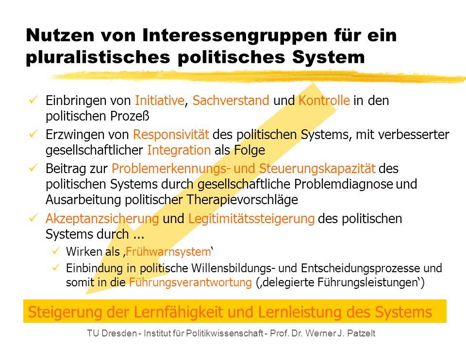 Nutzen von Interessengruppen für ein pluralistisches politisches System