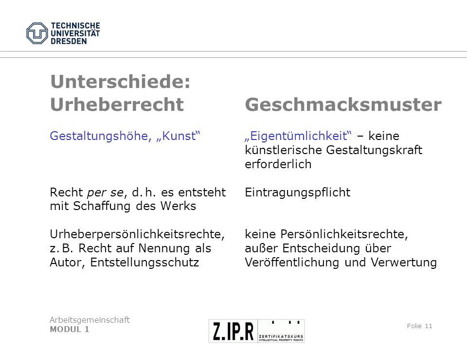 """Unterschiede: Urheberrecht Geschmacksmuster Gestaltungshöhe, """"Kunst"""
