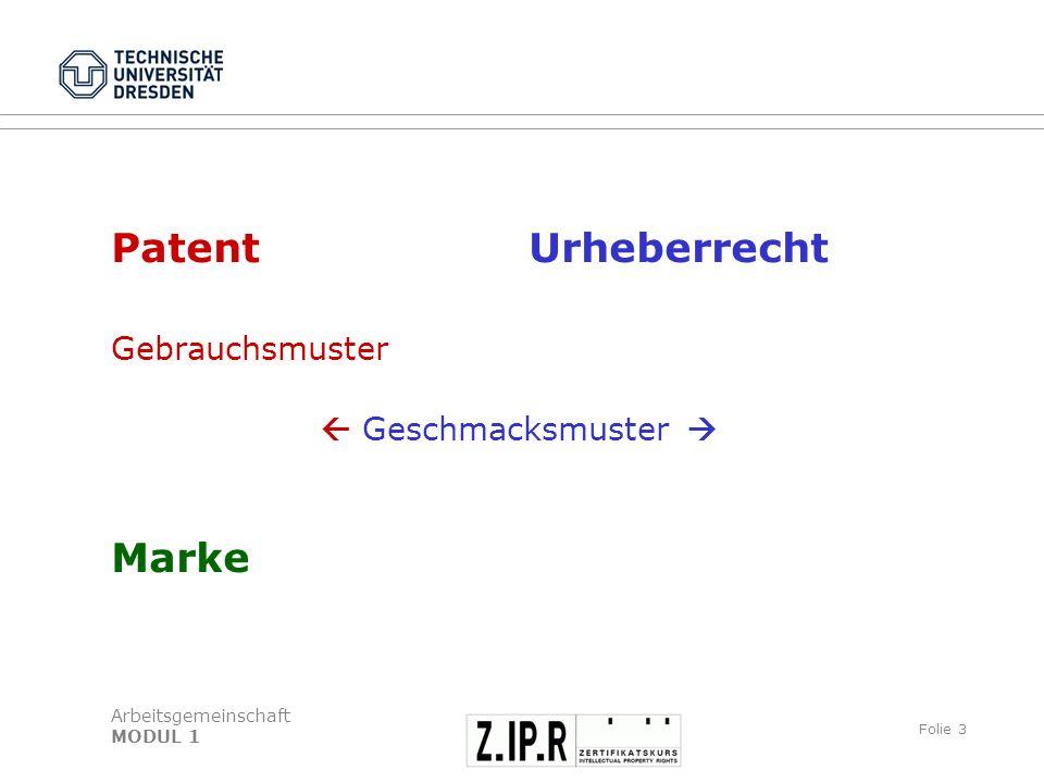 Patent Urheberrecht Gebrauchsmuster  Geschmacksmuster  Marke