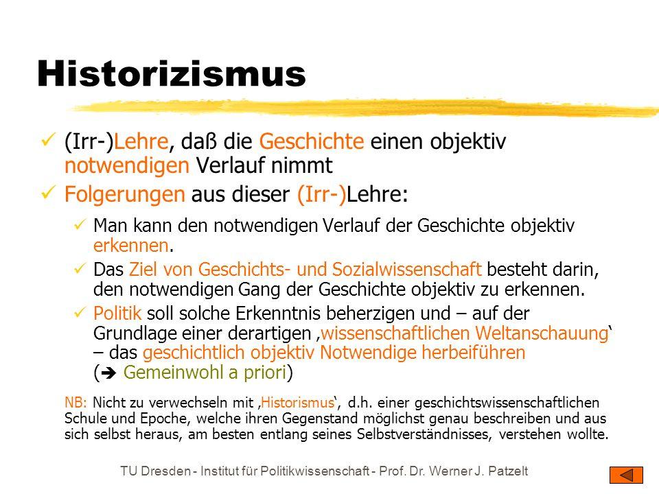 Historizismus(Irr-)Lehre, daß die Geschichte einen objektiv notwendigen Verlauf nimmt. Folgerungen aus dieser (Irr-)Lehre: