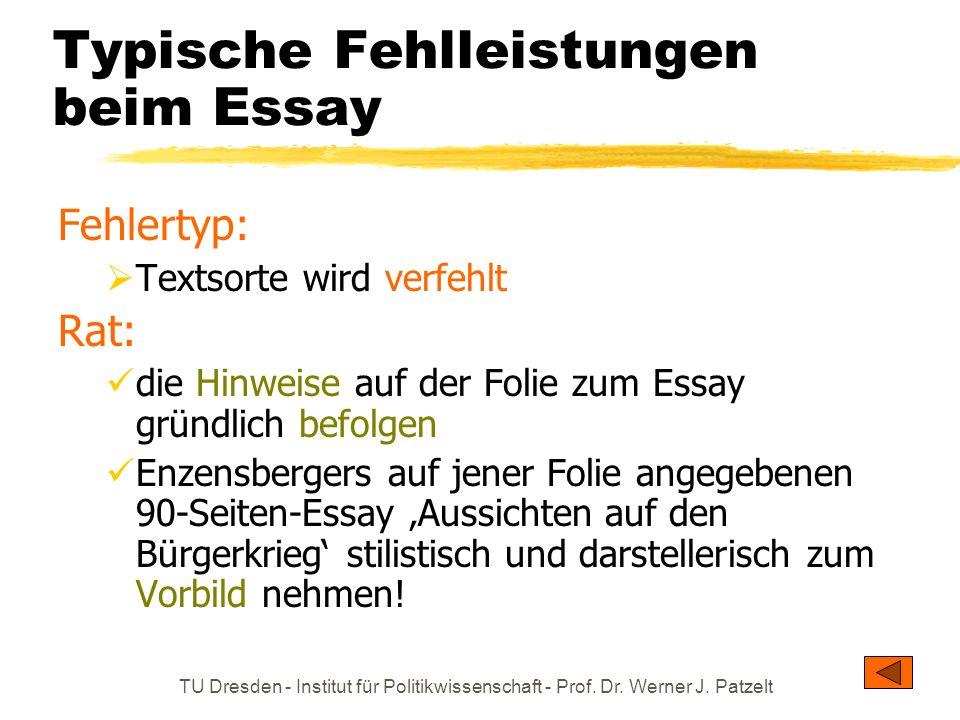 Typische Fehlleistungen beim Essay