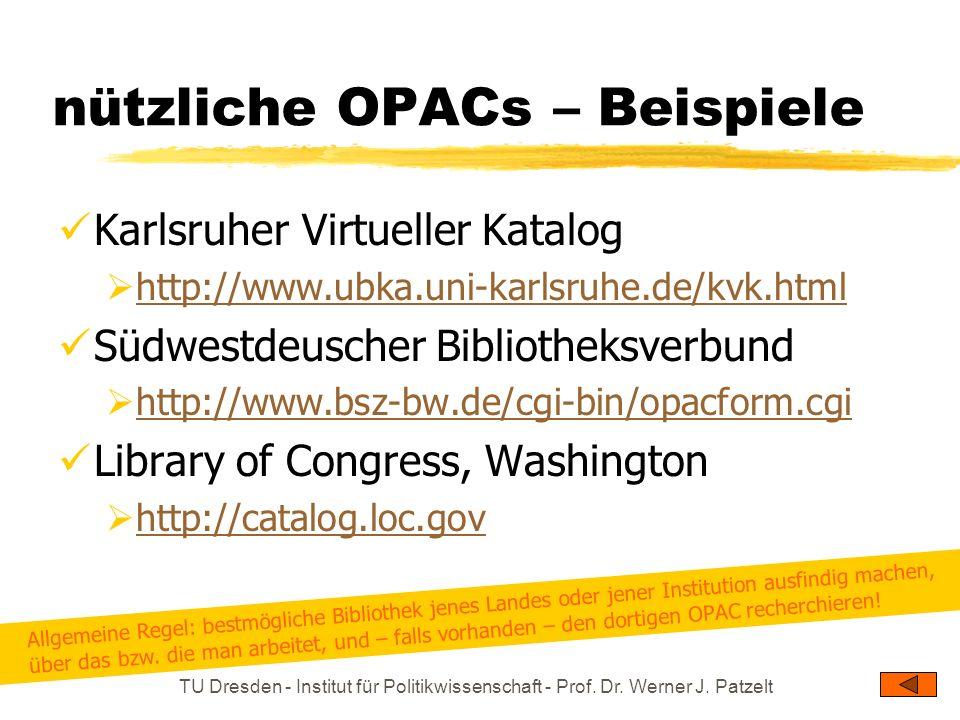 nützliche OPACs – Beispiele