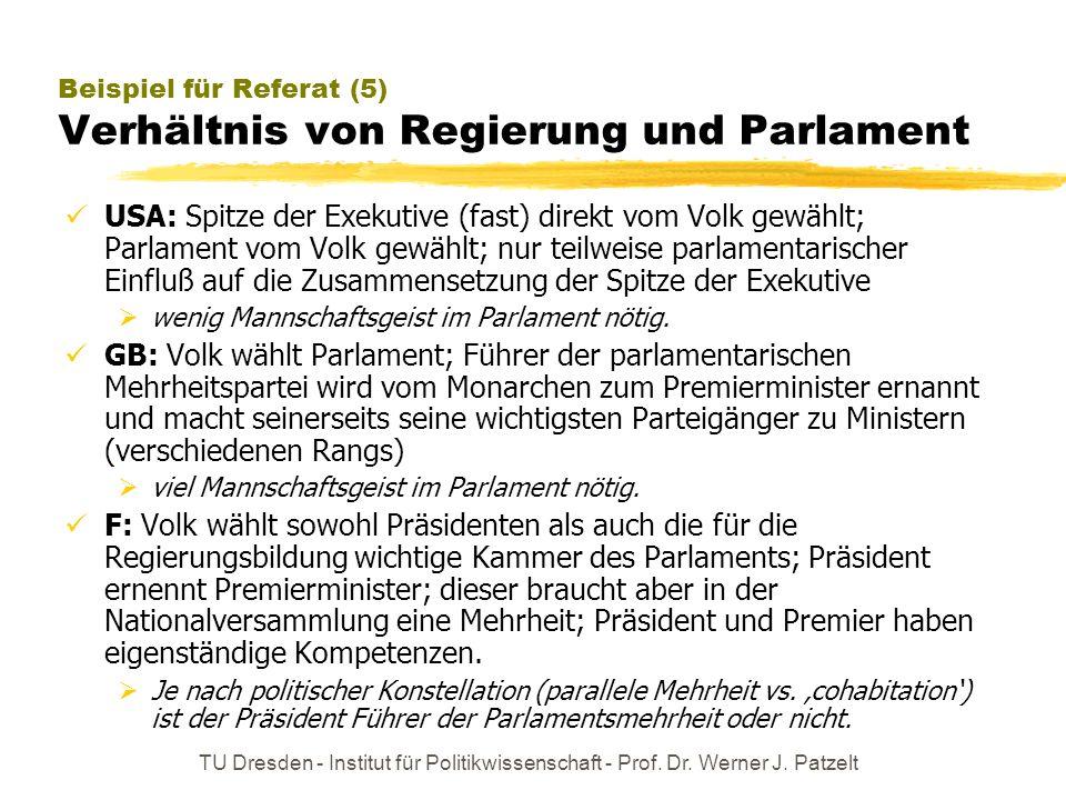 Beispiel für Referat (5) Verhältnis von Regierung und Parlament