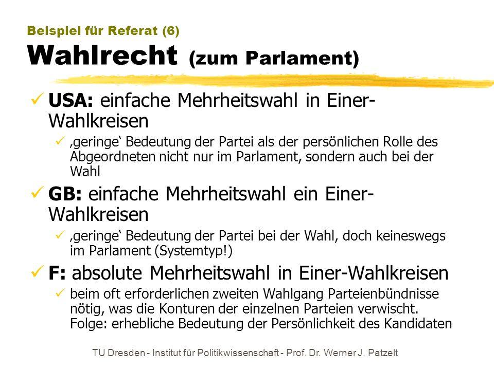 Beispiel für Referat (6) Wahlrecht (zum Parlament)