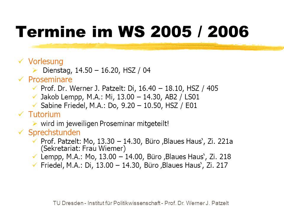 Termine im WS 2005 / 2006 Vorlesung Proseminare Tutorium Sprechstunden
