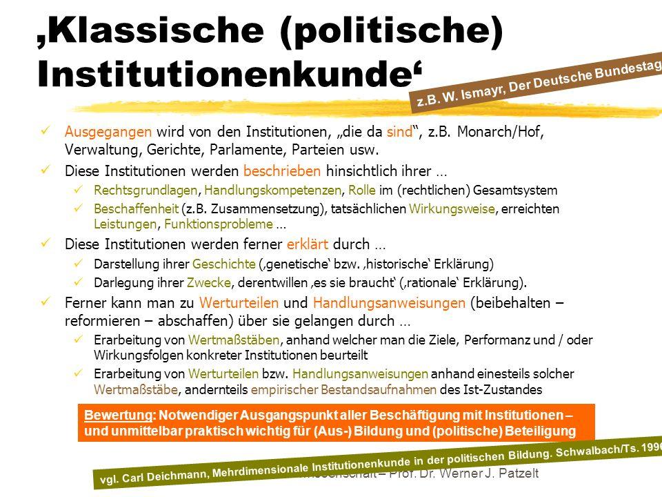 'Klassische (politische) Institutionenkunde'