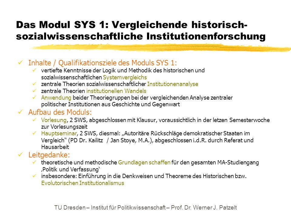 Das Modul SYS 1: Vergleichende historisch-sozialwissenschaftliche Institutionenforschung