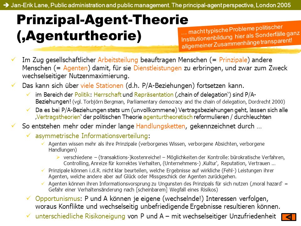 Prinzipal-Agent-Theorie ('Agenturtheorie)