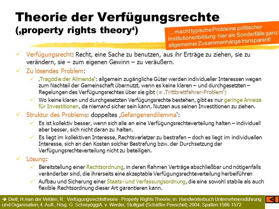Theorie der Verfügungsrechte ('property rights theory')