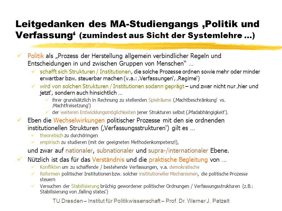 Leitgedanken des MA-Studiengangs 'Politik und Verfassung' (zumindest aus Sicht der Systemlehre …)