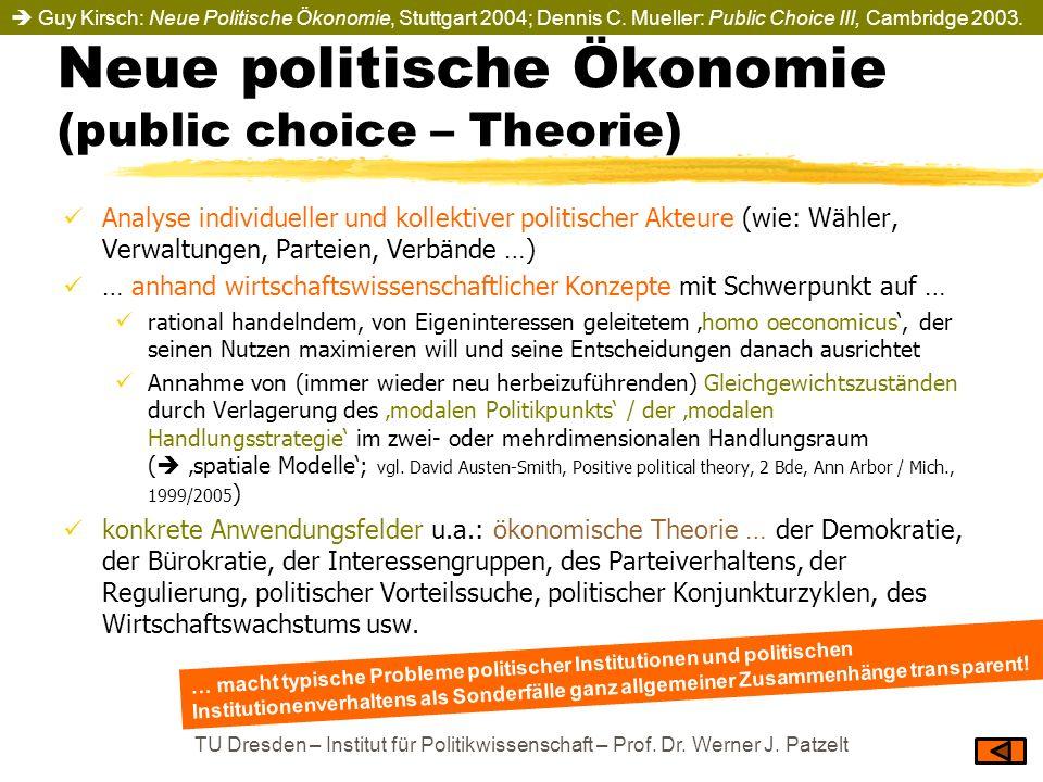 Neue politische Ökonomie (public choice – Theorie)