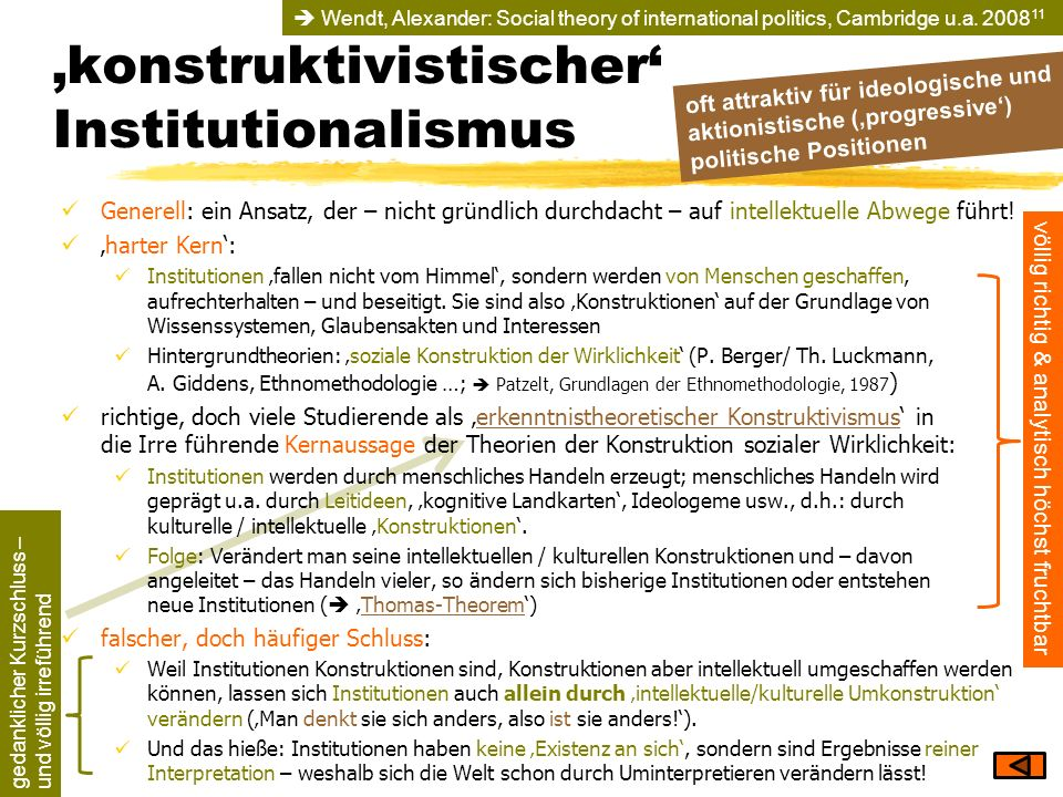 'konstruktivistischer' Institutionalismus