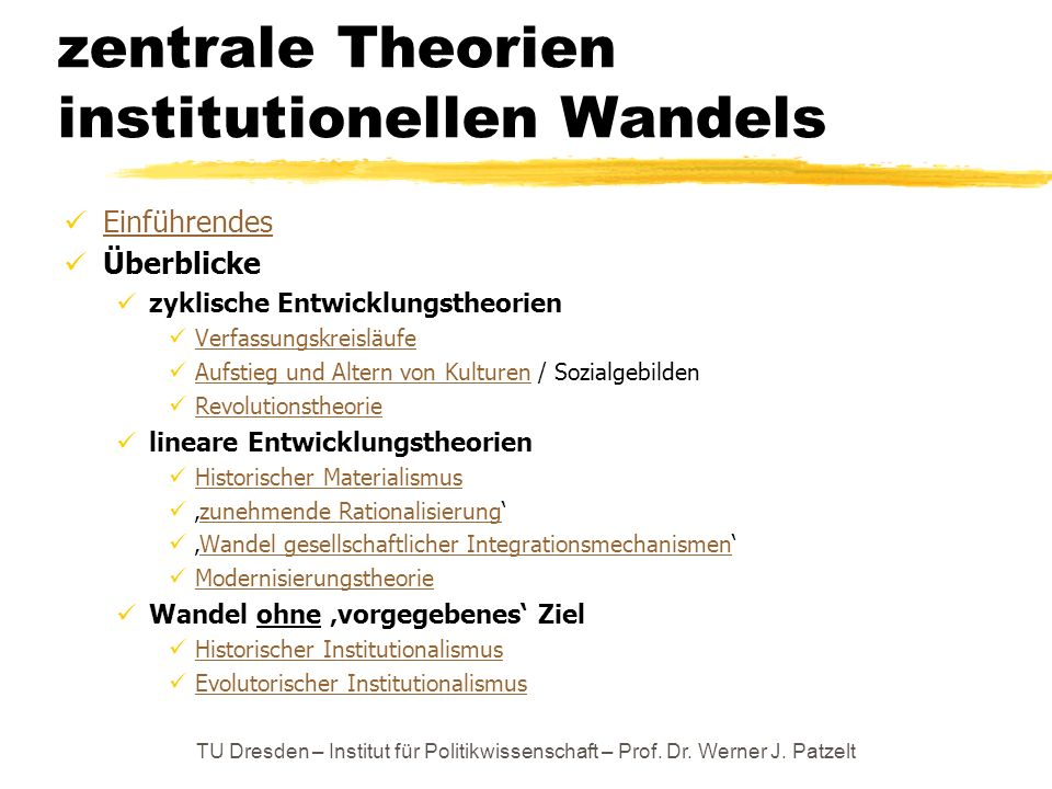 zentrale Theorien institutionellen Wandels