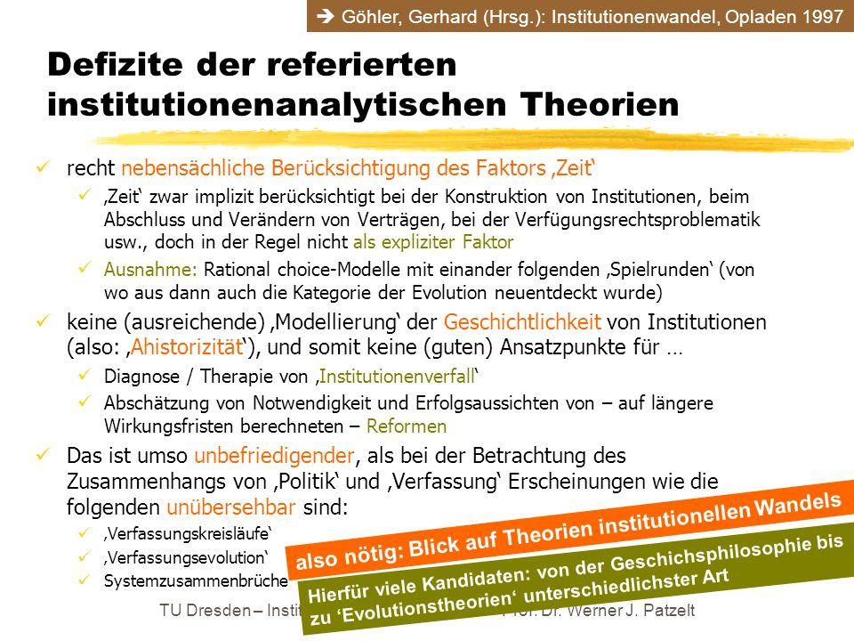 Defizite der referierten institutionenanalytischen Theorien