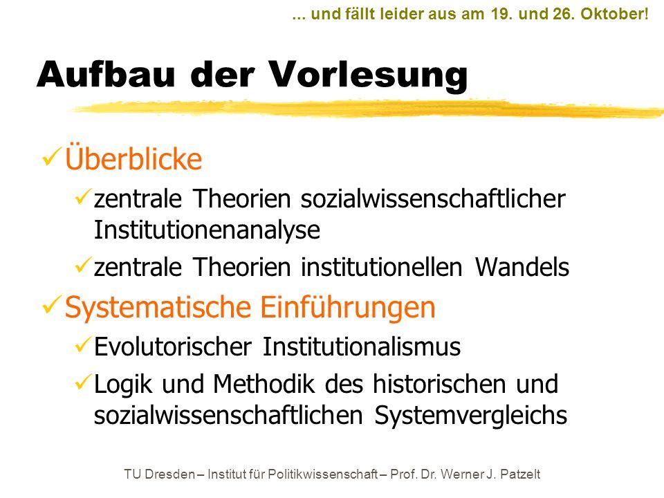 Aufbau der Vorlesung Überblicke Systematische Einführungen