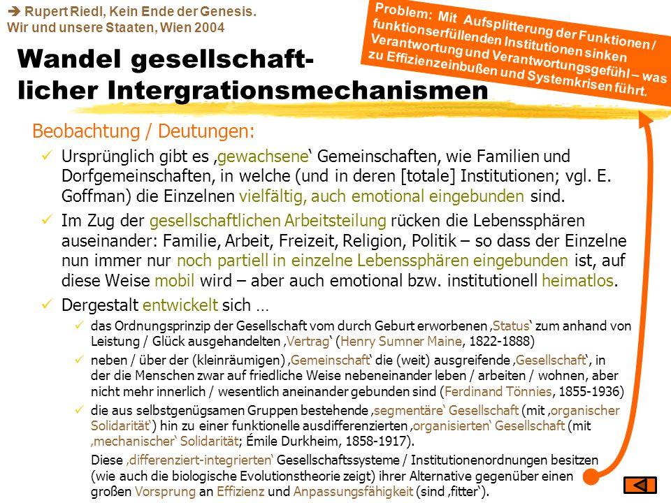 Wandel gesellschaft- licher Intergrationsmechanismen