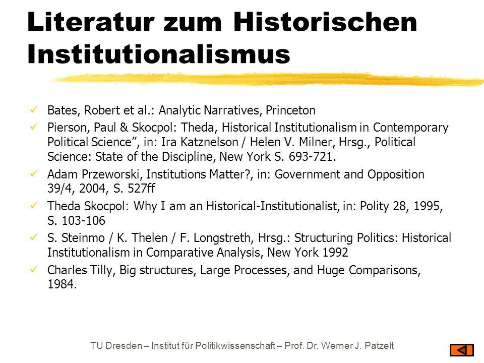 Literatur zum Historischen Institutionalismus