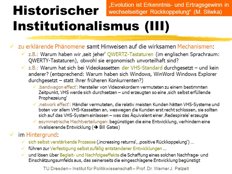 Historischer Institutionalismus (III)