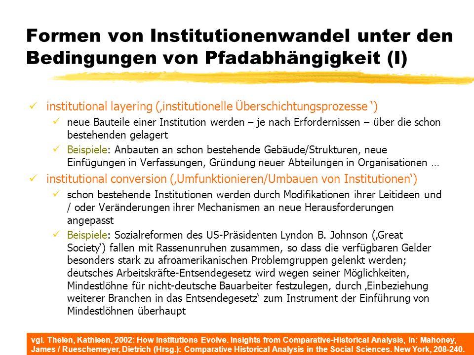 Formen von Institutionenwandel unter den Bedingungen von Pfadabhängigkeit (I)