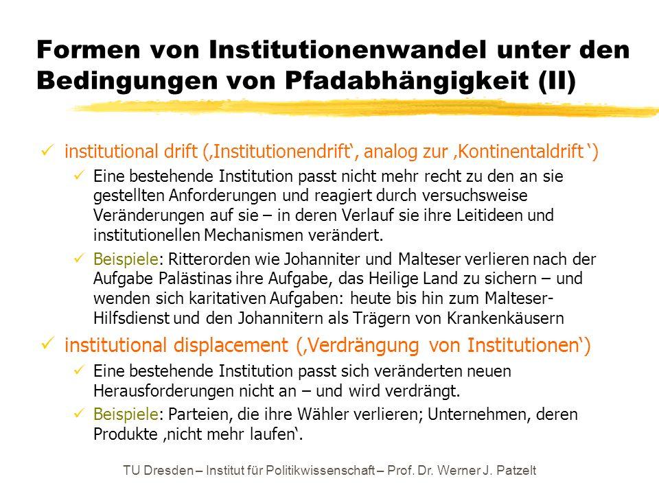 Formen von Institutionenwandel unter den Bedingungen von Pfadabhängigkeit (II)