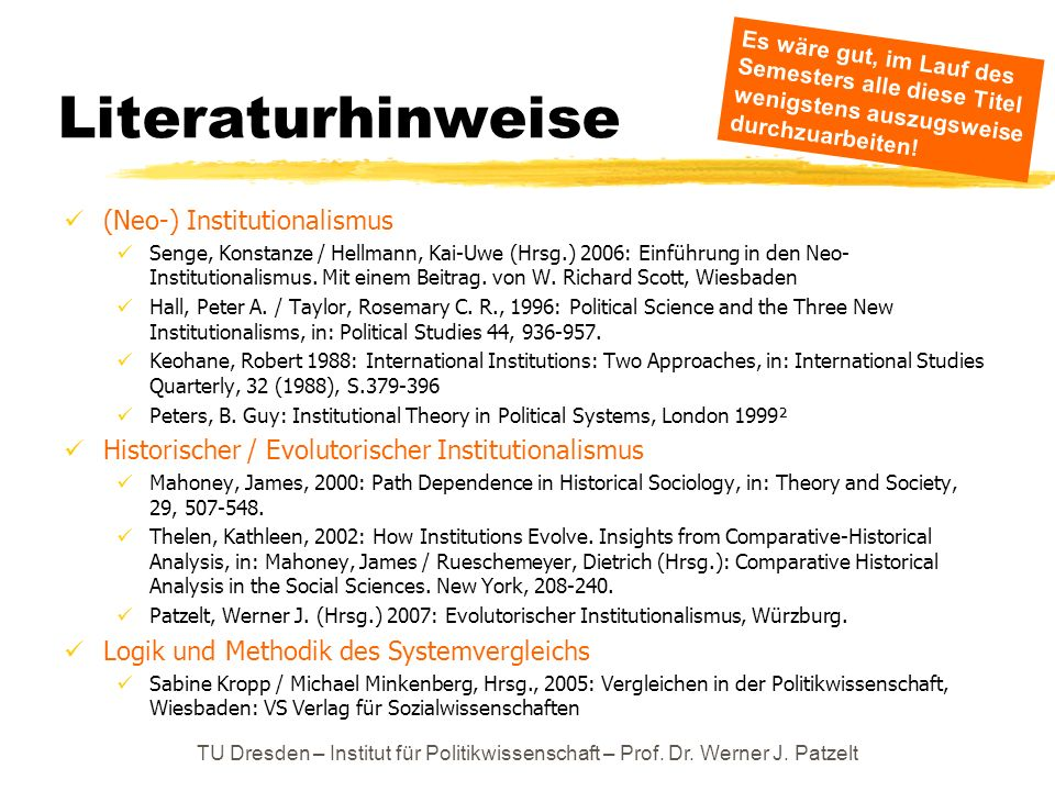 Literaturhinweise (Neo-) Institutionalismus