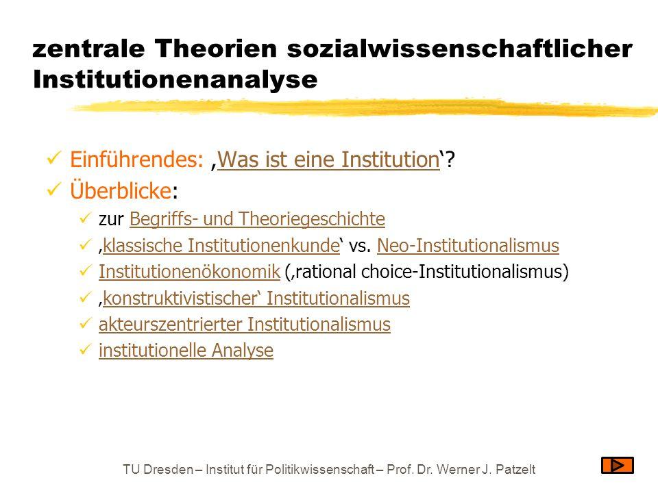 zentrale Theorien sozialwissenschaftlicher Institutionenanalyse