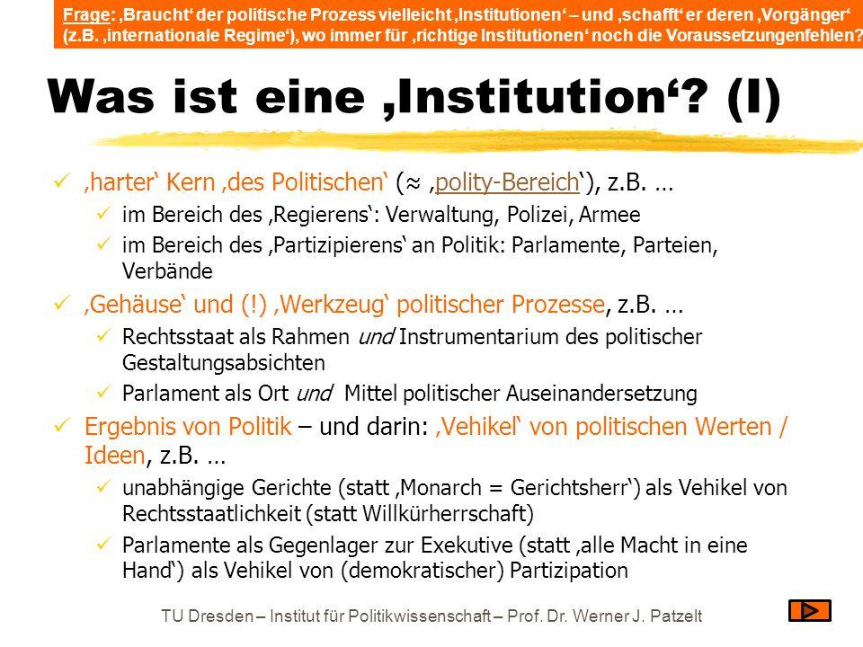 Was ist eine 'Institution' (I)