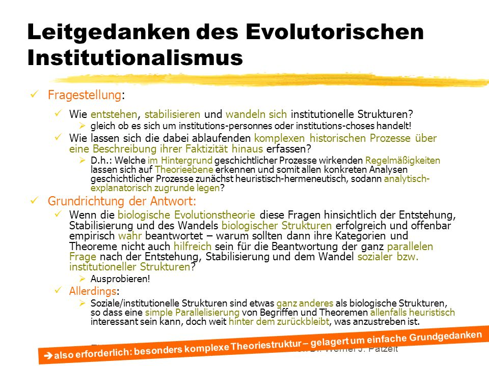 Leitgedanken des Evolutorischen Institutionalismus