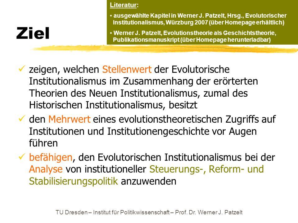 Literatur: ausgewählte Kapitel in Werner J. Patzelt, Hrsg., Evolutorischer Institutionalismus, Würzburg 2007 (über Homepage erhältlich)