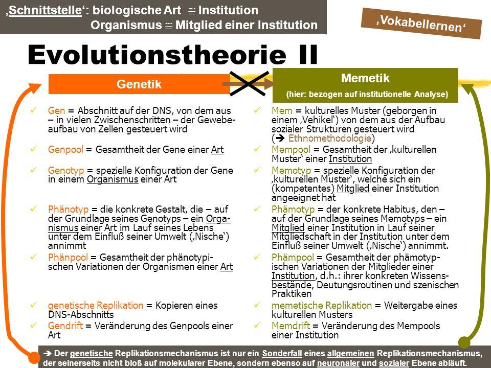 Memetik (hier: bezogen auf institutionelle Analyse)