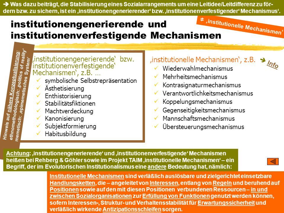 institutionengenerierende und institutionenverfestigende Mechanismen
