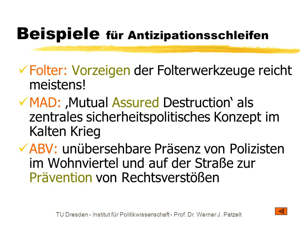 Beispiele für Antizipationsschleifen