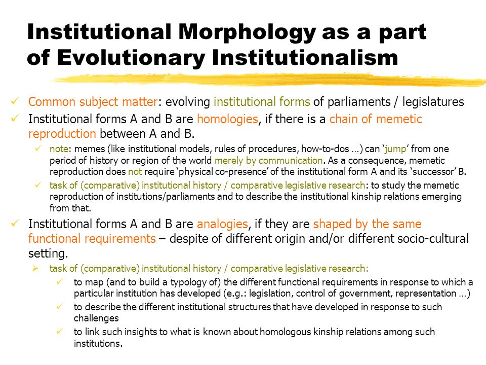 Institutional Morphology as a part of Evolutionary Institutionalism
