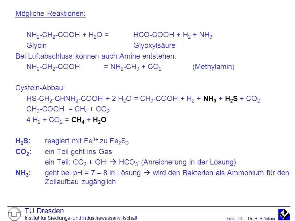 Mögliche Reaktionen: NH2-CH2-COOH + H2O = HCO-COOH + H2 + NH3. Glycin Glyoxylsäure. Bei Luftabschluss können auch Amine entstehen:
