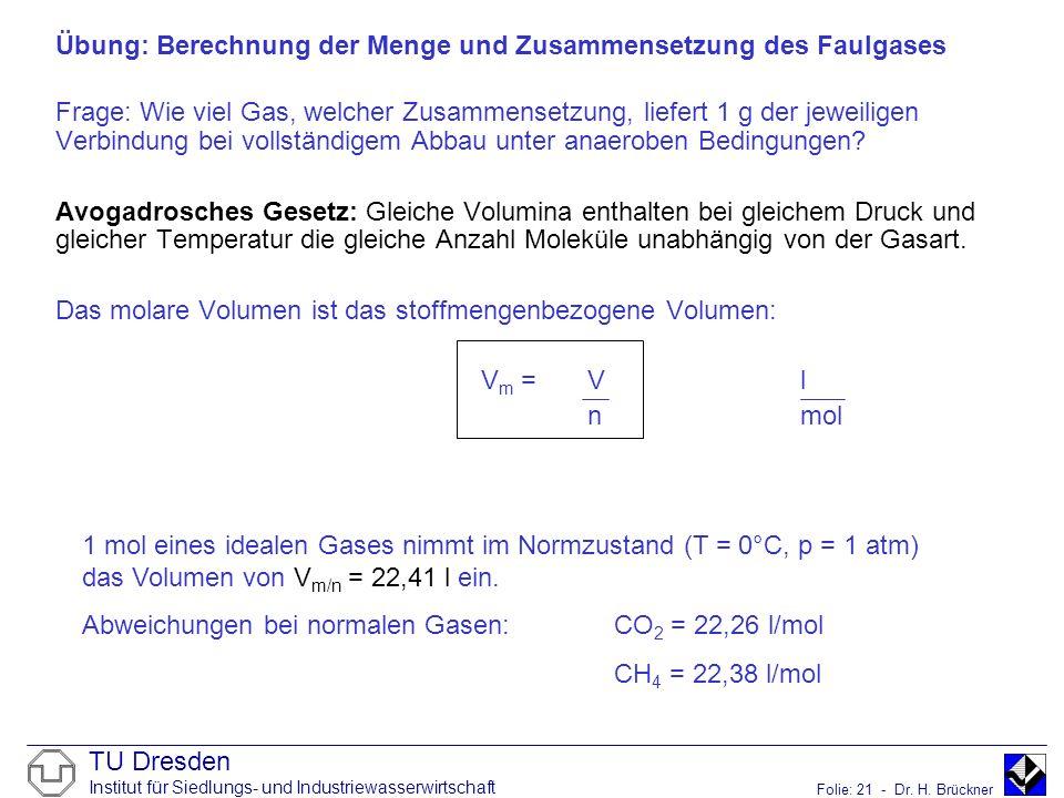 Übung: Berechnung der Menge und Zusammensetzung des Faulgases