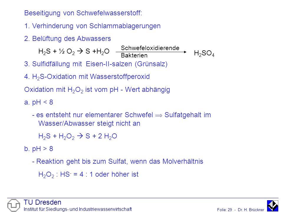 Beseitigung von Schwefelwasserstoff: