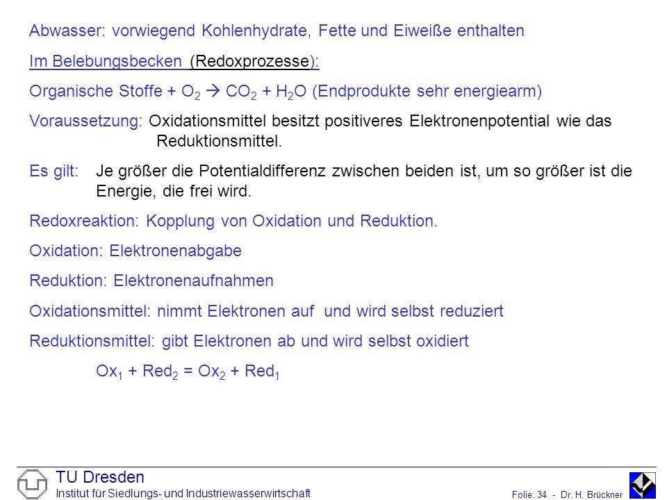 Abwasser: vorwiegend Kohlenhydrate, Fette und Eiweiße enthalten