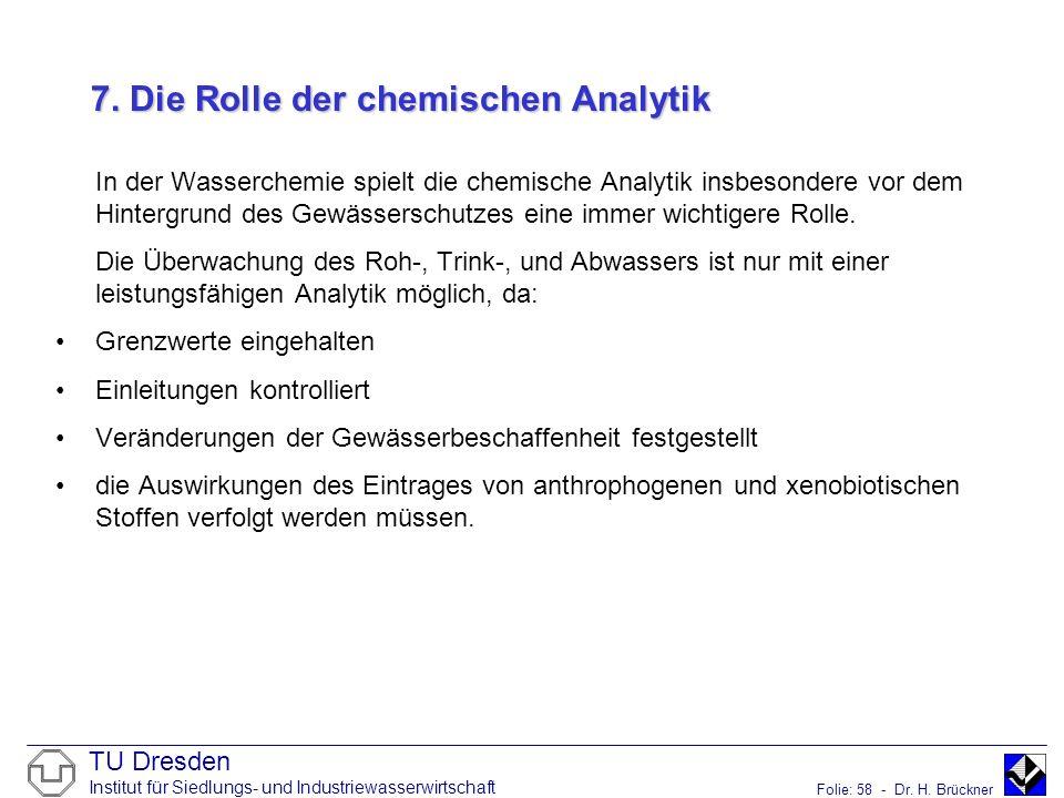 7. Die Rolle der chemischen Analytik