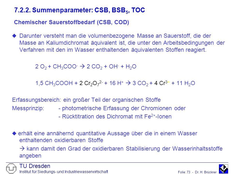 Chemischer Sauerstoffbedarf (CSB, COD)