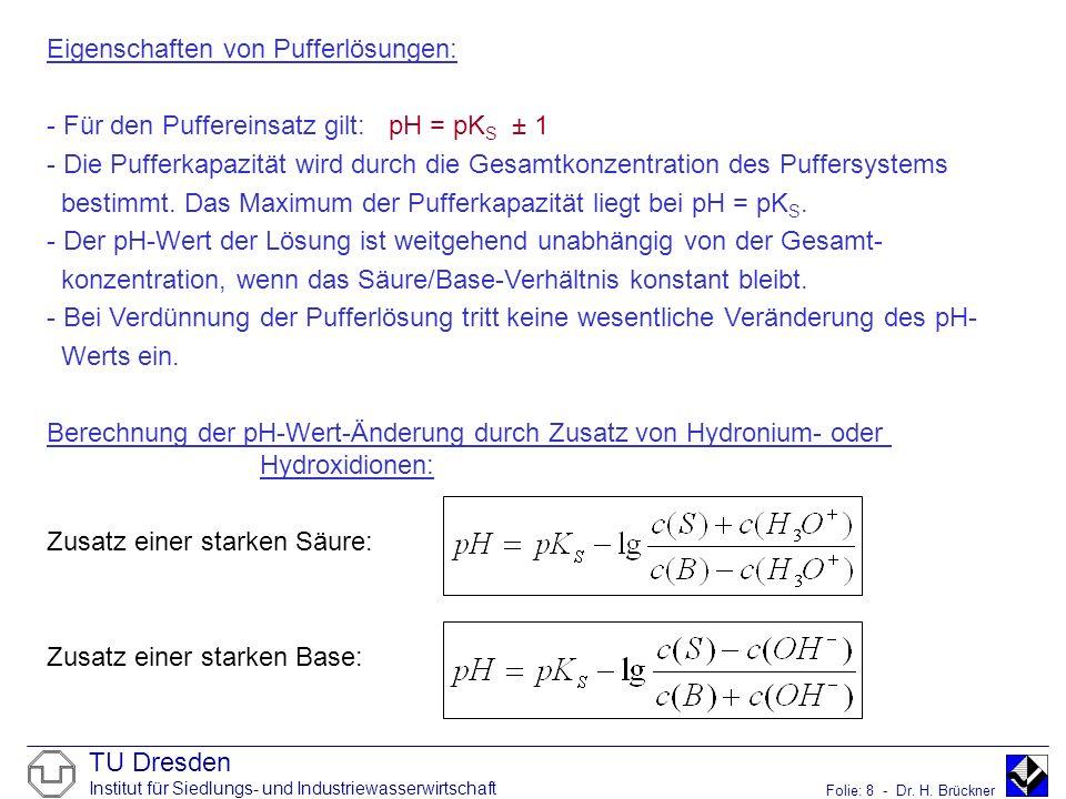 Eigenschaften von Pufferlösungen: