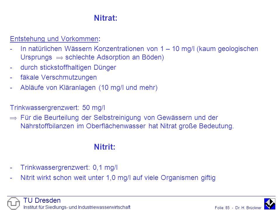 Nitrat: Nitrit: Entstehung und Vorkommen: