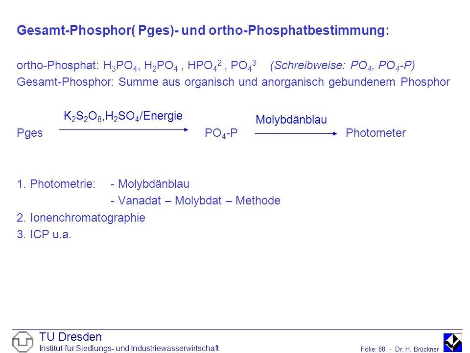Gesamt-Phosphor( Pges)- und ortho-Phosphatbestimmung: