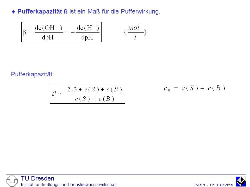 Pufferkapazität ß ist ein Maß für die Pufferwirkung.