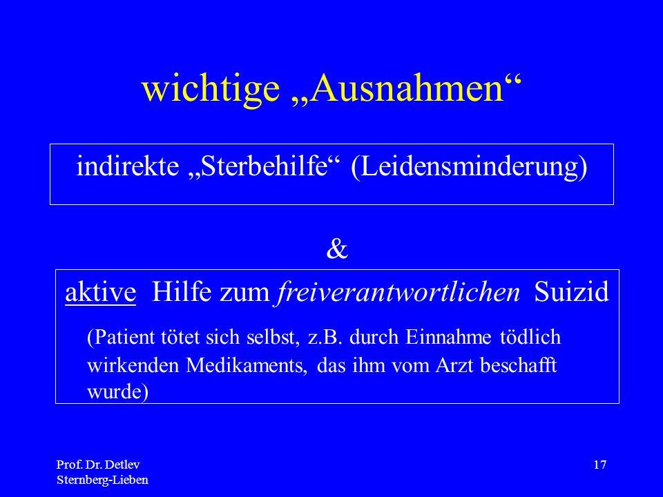"""wichtige """"Ausnahmen indirekte """"Sterbehilfe (Leidensminderung) &"""