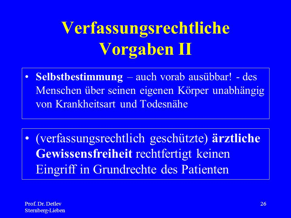 Verfassungsrechtliche Vorgaben II
