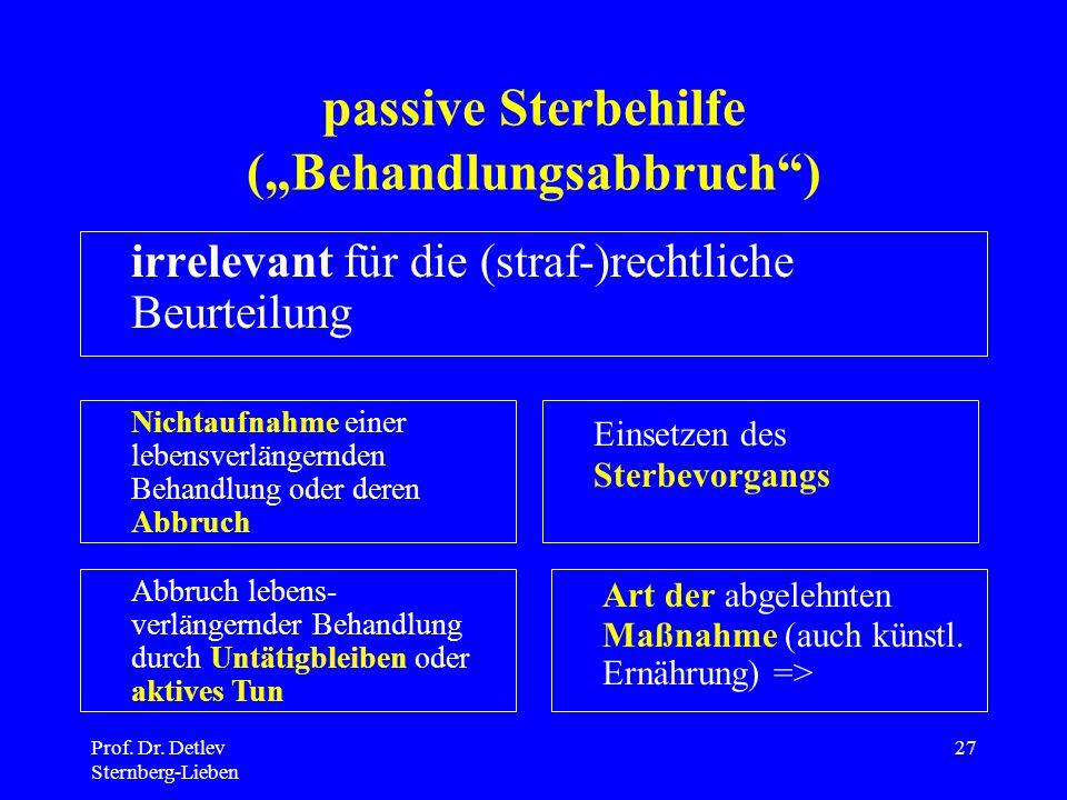 """passive Sterbehilfe (""""Behandlungsabbruch )"""