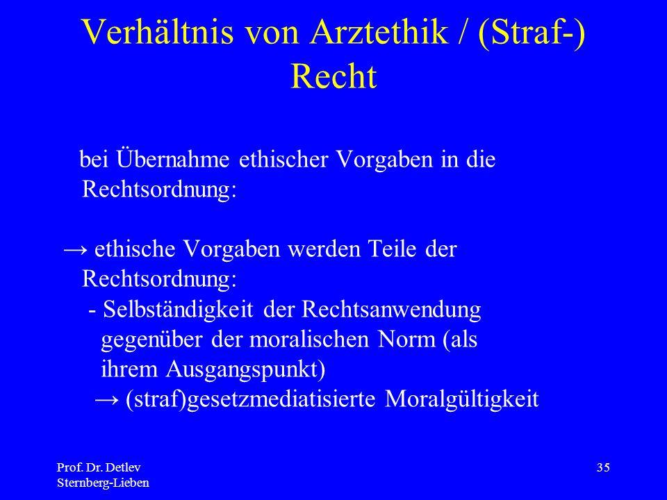 Verhältnis von Arztethik / (Straf-) Recht